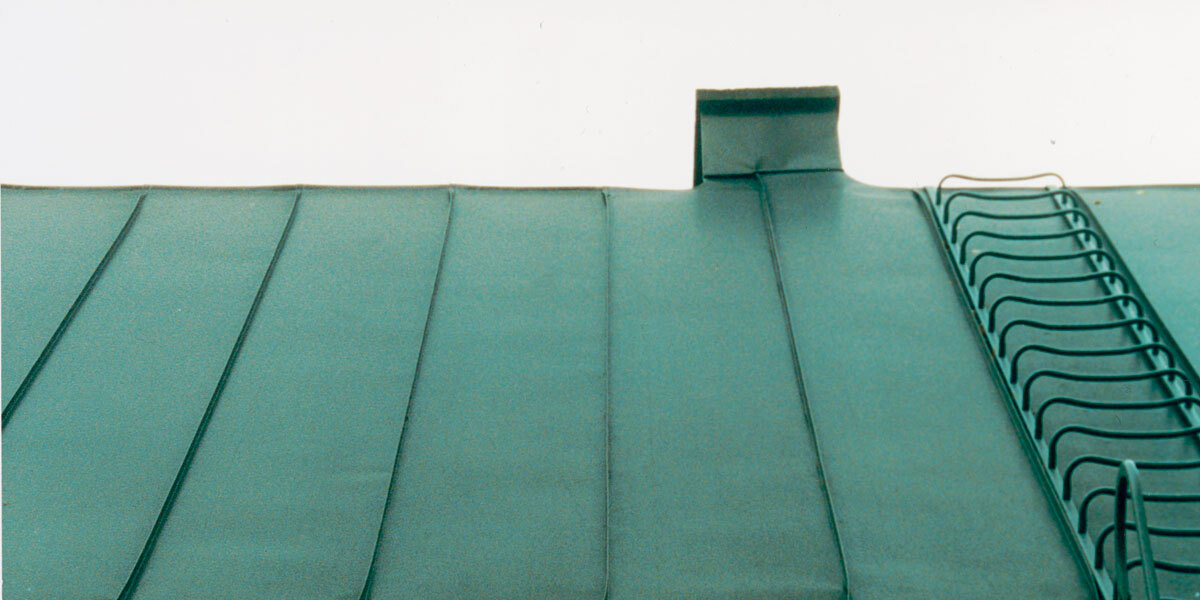 green sheet metal roof